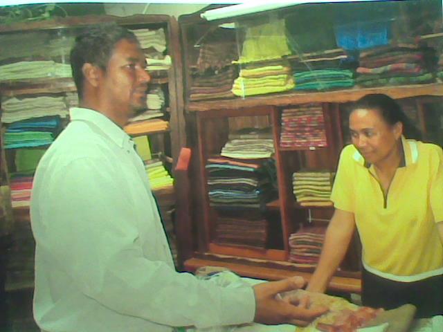 Silk Vendor in a Shop in Madagascar